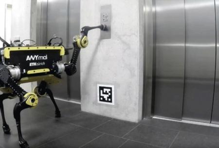 استفاده ربات 4 پا از آسانسور!