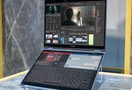 لپ تاپ مجهز به ویندوز ۱۰ با ۲ نمایشگر