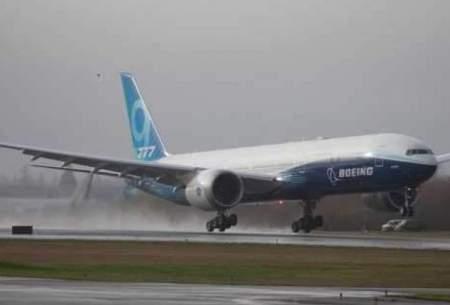 هواپیمای جدید بوئینگ ۷۷۷ با بزرگترین موتور دوقلو جهان پرواز کرد