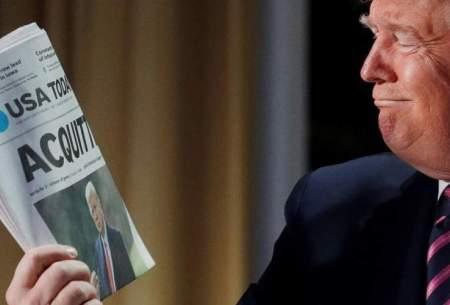 ژستهای ترامپ با جلد روزنامه ها/تصاویر