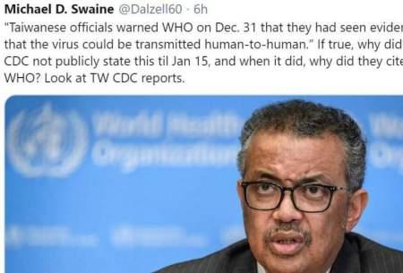 رییس سازمان بهداشت جهانی به همدستی با چین برای پنهانکاری کرونا متهم شد