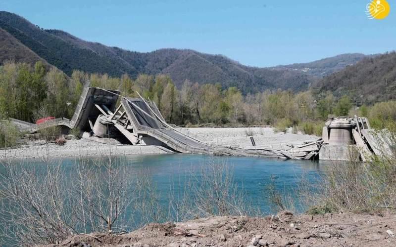 فروریختن پل ۲۶۰ متری در ایتالیا/تصاویر