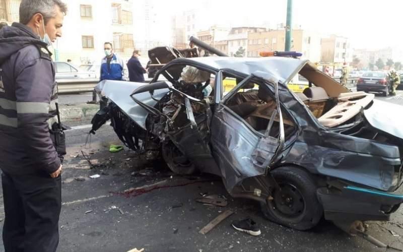 تصادف خونین۲خودرو دربزرگراه یادگار امام/تصاویر