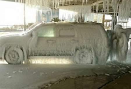 یخزدگی خودروها در سرمای شدید تگزاس/عکس