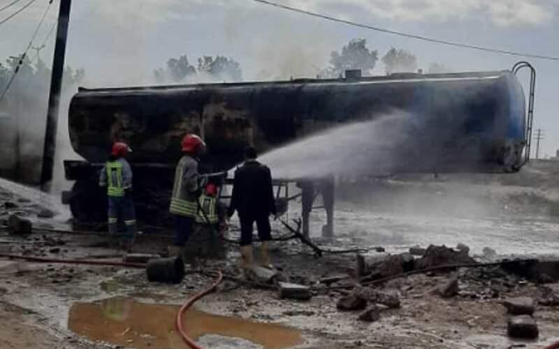 یک تانکر حامل سوخت در خوزستان منفجر شد