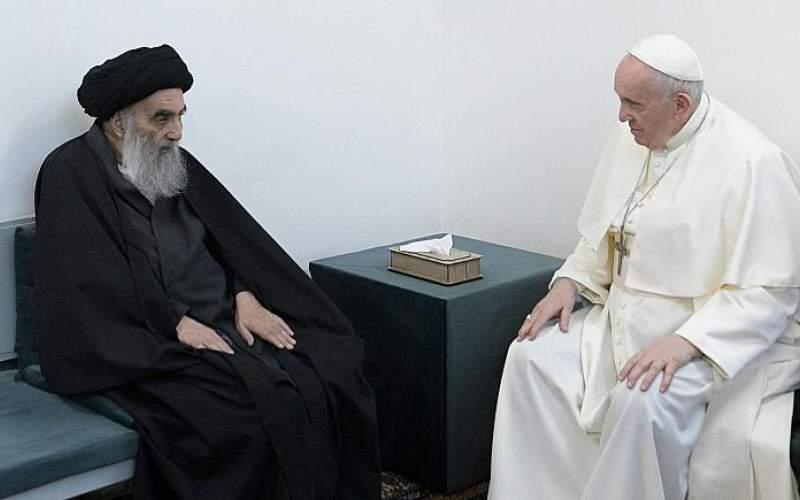 دیدار پاپ  با  مرجع تقلید شیعیان عراق