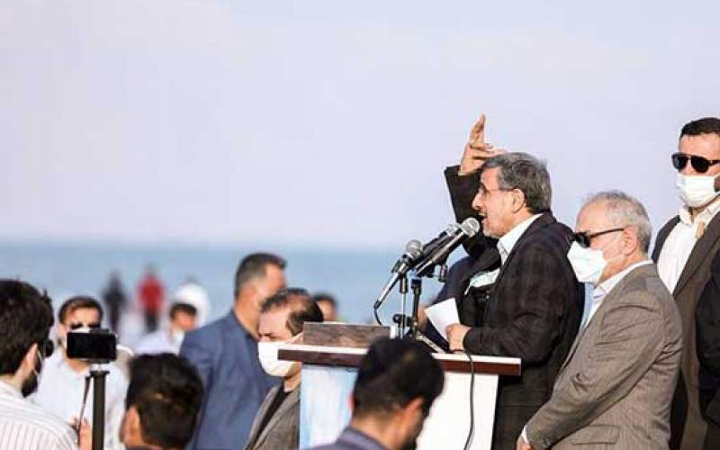 میتینگ احمدینژاد در ساحل بندر دیر/تصاویر