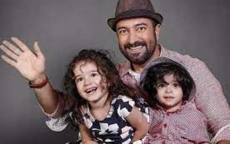 مجید صالحی درکنار همسر ودوقلوهایش/عکس