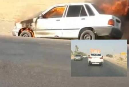آتشسوزییک پراید و رفتارمتفاوت رانندهBMW