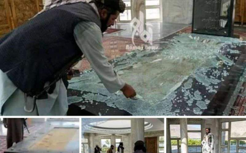 تخریب آرامگاه قهرمان ملی توسط وحوش طالبان