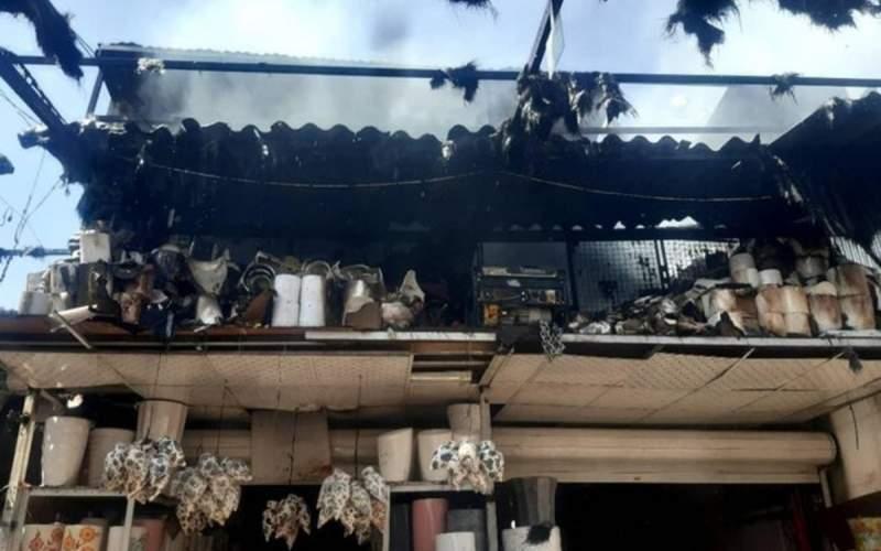 آتش سوزی در بازار گل محلاتی