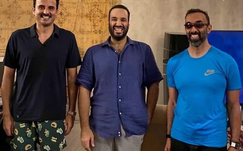 بنسلمان و امیر قطر در لباسغیررسمی/عکس